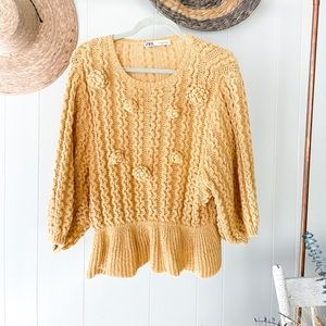 Zara Peplum Knit Sweater
